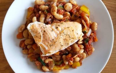 RECIPE: Baked Hake with Smoked Salmon and Butter Bean Cassoulet