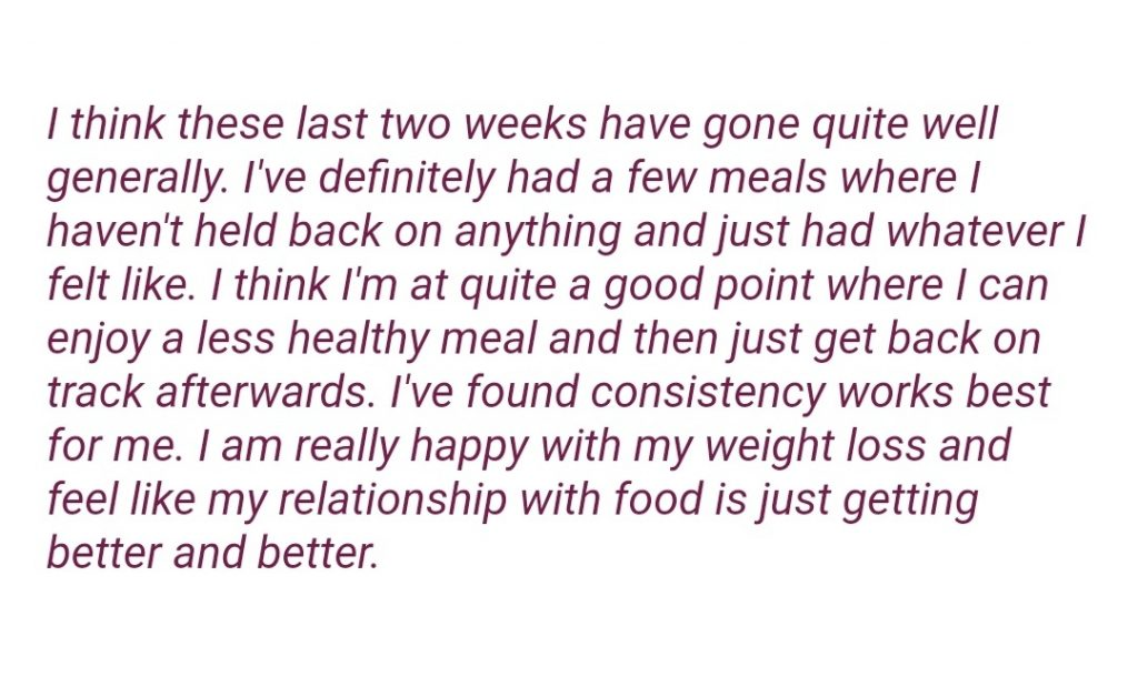 Improving relationship with food